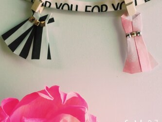 ◯ボーダー×ピンクレース ドレス型メッセージカード◯の画像