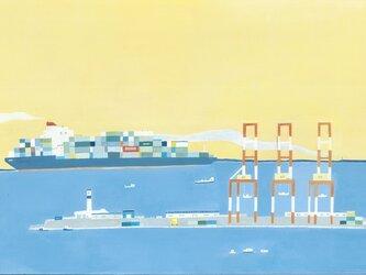 夕暮れの港の画像