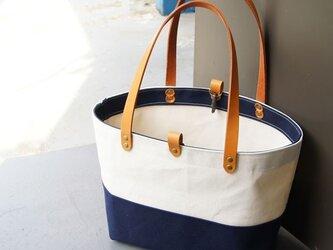ツートンカラー6号帆布のトートバッグ~紺+生成り~の画像