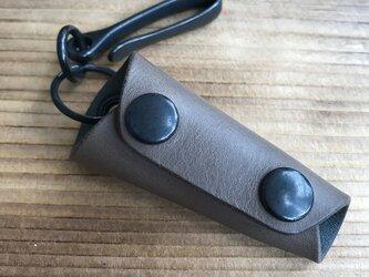 [受注製作] レザーキーケース - 高級イタリアンレザー グレーの画像