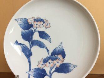 山紫陽花(赤)のお皿の画像