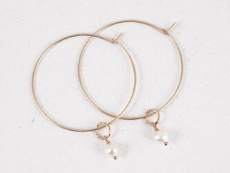 14KGF Petit Charm Hoops WHの画像