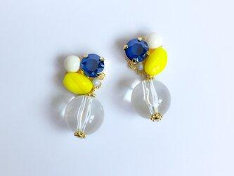yellow blue bijou ピアス/イヤリングの画像