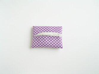 ギンガムのティッシュケース(紫)の画像