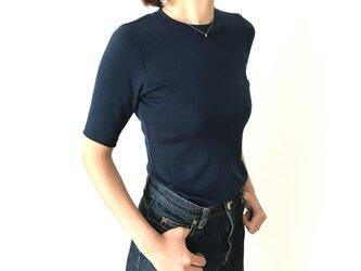 形にこだわった大人の4分袖無地Tシャツ ネイビー【サイズ展開有】の画像