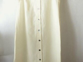 手織り木綿使用・丈長シャツワンピースの画像