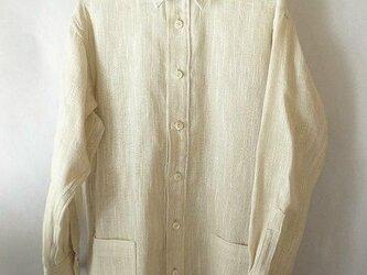 手織り布使用のシャツ・麻綿混の画像