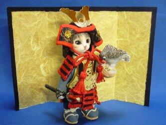 五月人形 猫武者人形 お供は鷹君の画像