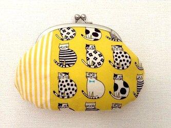 【受注制作】黄色×猫 - レトロながま口ポーチの画像