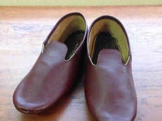 牛革 ワイン モカシンシューズ ルームシューズ 革靴の画像