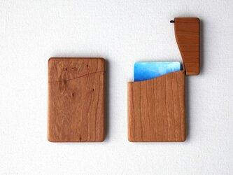 木製名刺入れ スリム チェリー×ウォルナットの画像