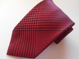 ネクタイ グレンチェック レッド  シルク(絹)100%の画像