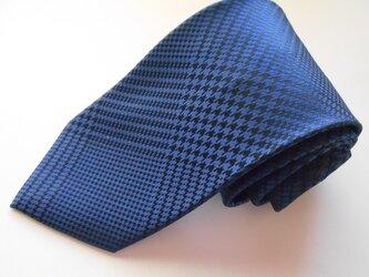 ネクタイ グレンチェック ブルー  シルク(絹)100%の画像