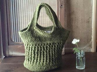 麻糸と手織りの布リバーシブルバッグの画像