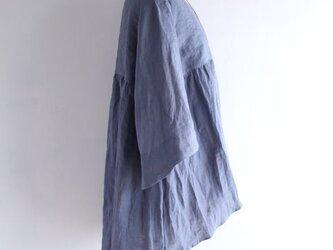 【受注製作】ヴィンテージブルー 高品質リネン フィッシュテールラインチュニック の画像