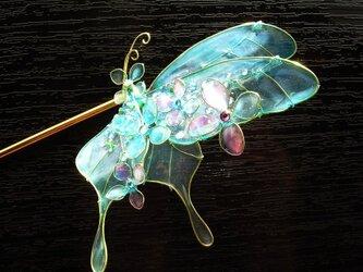 紫陽花まとうアゲハ(かんざし)の画像