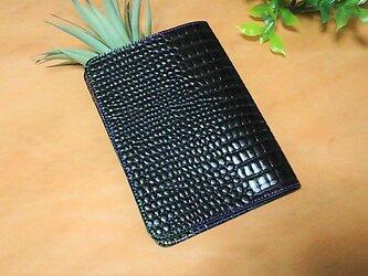 革のブックカバー シンプル 黒の画像