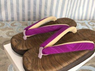カラス畳表舟底下駄 紫色無地花緒・Mサイズの画像
