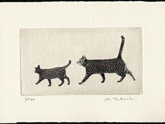 お散歩・二匹の猫/ 銅版画 (作品のみ)の画像