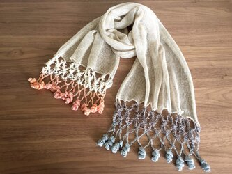 リネンの機械編みストール オレンジ系×グレー系の画像