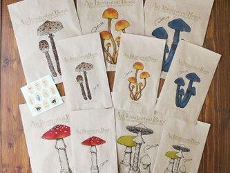 ●キノコ図鑑シリーズ2●アンティークきのこ図鑑のラッピング袋の画像