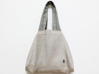 小さい仲間のリネンのさんかくバッグの画像