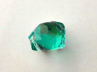 硝子の結晶 青緑ひとつぶ ガラス帯留の画像