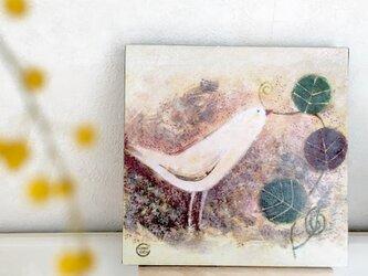 18×18cmパネル・白いとりの画像
