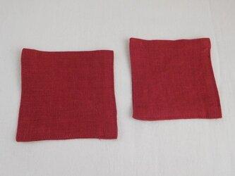 コースター 2枚 リネン 赤の画像