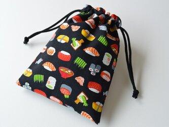 お寿司 鮨・巾着袋 黒【 Simple 】の画像