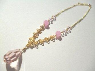 チェコビーズ・カルセドニー・カットガラスのネックレスの画像