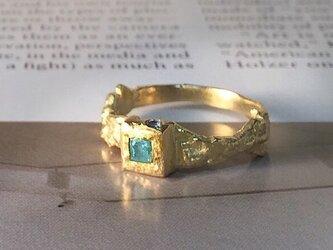 """K18パライバトルマリン原石0.21ctパライバ州産 サファイア 鉱山金塊マイン リング """"Blue Mine""""の画像"""