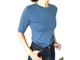 日本製オーガニックコットン 形にこだわった大人の4分袖無地Tシャツ アッシュブルー【サイズ展開有】の画像