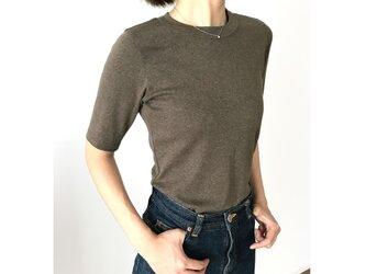 日本製オーガニックコットン 形にこだわった大人の4分袖無地Tシャツ アッシュブラウン【サイズ展開有】の画像