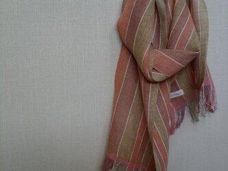 手織りストール ~草木染・綿麻~の画像