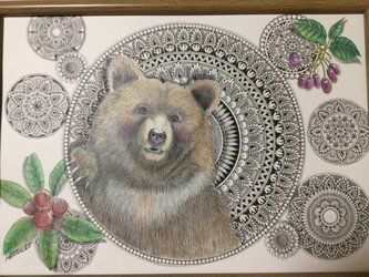 原画 肉筆 一点もの ボールペンアート 熊 「みんなの力」 額装付き 百貨店作家 人気 ボールペン画 絵画 クマの絵 熊の絵の画像
