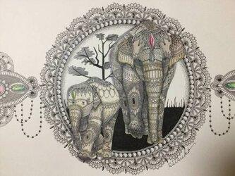 原画 肉筆 一点もの ボールペンアート 象 ぞう ゾウ 「明日への歩み」 額装付き 百貨店作家 人気 ボールペン画 絵画の画像