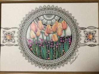 原画 肉筆 一点もの ボールペンアート チューリップ 額装付き 百貨店作家 人気 ボールペン画 絵画 チューリップの絵の画像