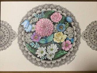 原画 肉筆 一点もの ボールペンアート 花「待ち焦がれる」 額装付き 百貨店作家 人気 ボールペン画 絵画 花の絵の画像