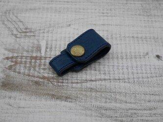 【2枚革】イヤホンホルダー(ブルー)の画像
