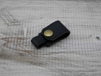 【2枚革】イヤホンホルダー(ブラック)の画像
