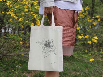 紫陽花柄 コットン生地のエコバッグ (ナチュラル)の画像