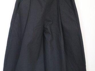 New【ブラック】ハーフリネンウエストゴムタック入りガウチョパンツ♥の画像
