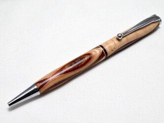 【積層寄木】手作り木製ボールペン スリムライン CROSS替芯の画像