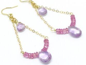 ★女神の光のしずく★ピンクサファイヤ&ピンクアメジストのクラシカルなイヤリングの画像