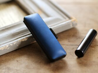 藍染革 15mm径印鑑ケースの画像