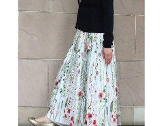 再販 ボタニカルチュール刺しゅう ギャザースカート 受注製作の画像