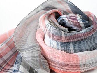 手織りリネンストール【彩風*01】の画像
