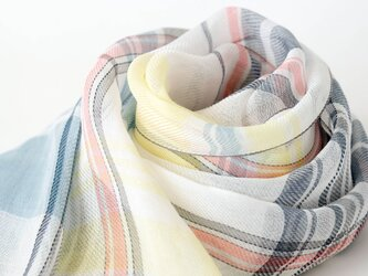 手織りリネンストール【彩風*02】の画像