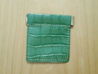 【受注製作】バネ口金レザー小銭入れ #緑ワニ型押の画像